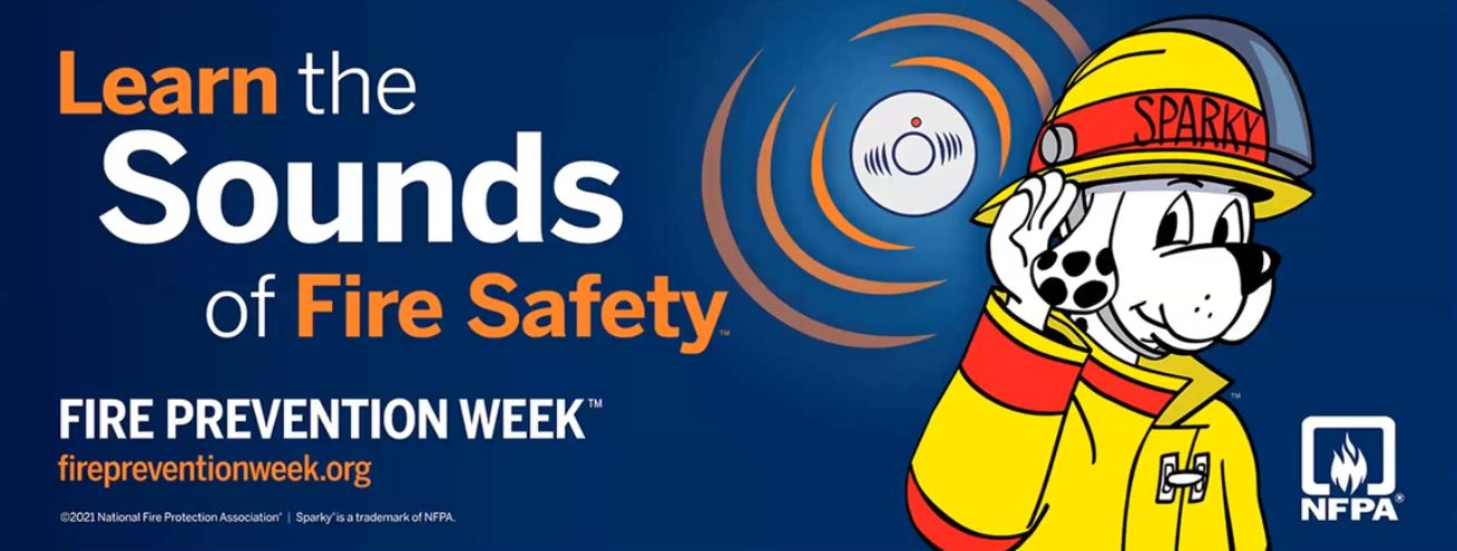 Learn the sounds of fire safety text overlaid on image of fire safety dof mascot and smoke detector